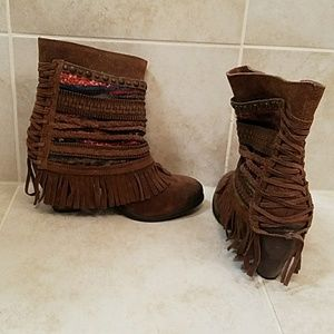 Suede booties with side embellishments-